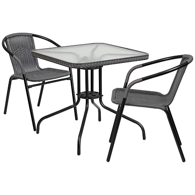 28 Square Glass Metal Table with Gray Rattan Edging and 2 Gray Rattan Stack Chairs [TLH-073SQ-037GY2-GG]