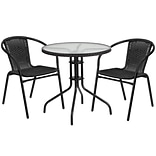 28 Round Glass Metal Table with Black Rattan Edging and 2 Black Rattan Stack Chairs [TLH-087RD-037