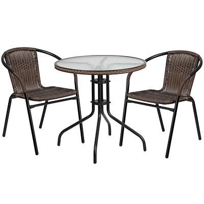 28 Round Glass Metal Table with Dark Brown Rattan Edging and 2 Dark Brown Rattan Stack Chairs [TLH-087RD-037BN2-GG]