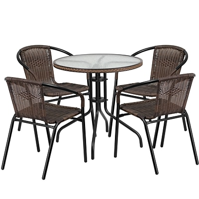 28 Round Glass Metal Table with Dark Brown Rattan Edging and 4 Dark Brown Rattan Stack Chairs [TLH-087RD-037BN4-GG]