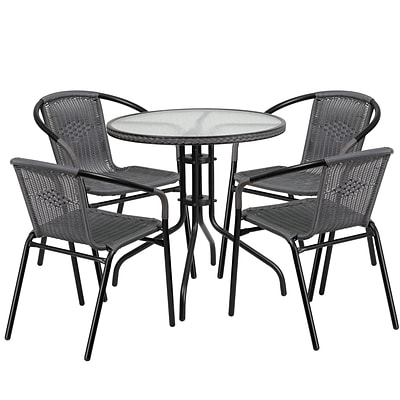 Flash Furniture Clear Top/Gray Rattan Indoor Outdoor Sets (TLH087RD037GY4)
