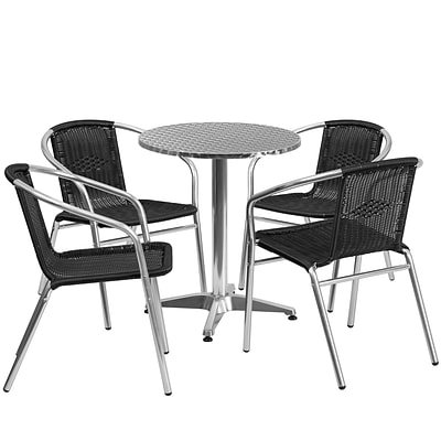 23.5 Round Aluminum Indoor-Outdoor Table with 4 Black Rattan Chairs [TLH-ALUM-24RD-020BKCHR4-GG]