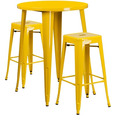 30 Round Yellow Metal Indoor-Outdoor Bar Table Set with 2 Square Seat Backless Barstools [CH-51090BH-2-30SQST-YL-GG]