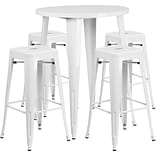 30 Round White Metal Indoor-Outdoor Bar Table Set with 4 Square Seat Backless Barstools [CH-51090B