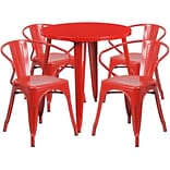 30 Round Red Metal Indoor-Outdoor Table Set with 4 Arm Chairs (CH-51090TH-4-18ARM-RED-GG)
