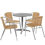 31.5 Round Aluminum Indoor-Outdoor Table with 4 Beige Rattan Chairs [TLH-ALUM-32RD-020BGECHR4-GG]