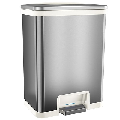 halo™ TapCan® 13 gal. Stainless Steel Sensor Trash Can White Trim TC13SW