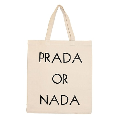 Retrospect Group Natural Canvas PRADA OR NADA Tote Bag 16.5 x 14.57 x 4.33 (RETV117)