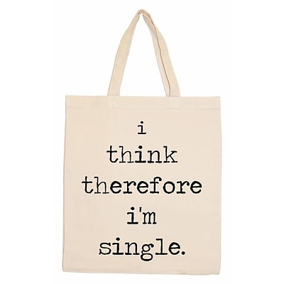Retrospect Group Natural Canvas I think therefore im single. Tote Bag 16.5 x 14.57 x 4.33 (RETV093)