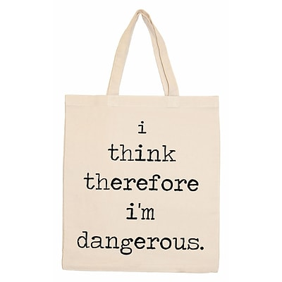 Retrospect Group Natural Canvas I think therefore im dangerous. Tote Bag 16.5 x 14.57 x 4.33 (RETV092)