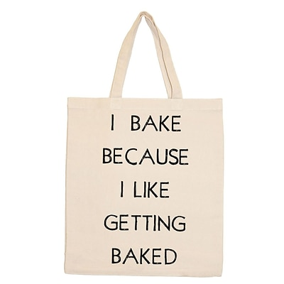 Retrospect Group Natural Canvas I BAKE BECAUSE I LIKE GETTING BAKED Tote Bag 16.5 x 14.57 x 4.33 (RETV113)