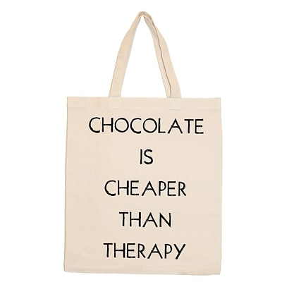 Retrospect Group Natural Canvas CHOCOLATE IS CHEAPER THAN THERAPY Tote Bag 16.5 x 14.57 x 4.33 (RETV116)