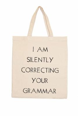 Retrospect Group Natural Canvas I Am Silently Correcting Your Grammar Tote Bag 16.5 X 14.57 X 4.33 (retv095)