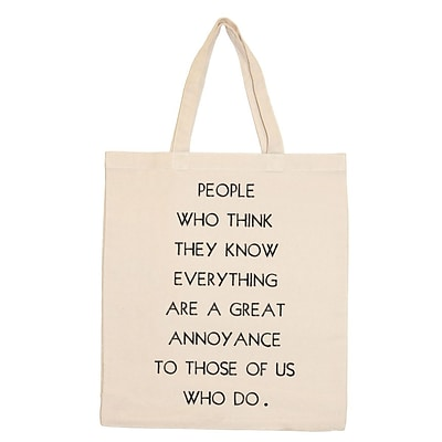 Retrospect Group Natural Canvas PEOPLE WHO THINK Tote Bag 16.5 x 14.57 x 4.33 (RETV114)