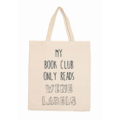 Retrospect Group Natural Canvas My Book Club Only Reads Wine Labels - RETROSPECT Tote Bag 16.5 x 14.57 x 4.33 (RETV070)