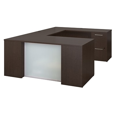 Bush Business Furniture Emerge 66W x 30D U Shaped Desk with 2 and 3 Drawer Pedestals, Mocha Cherry (300S110MR)