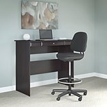Bush Furniture Cabot Standing Desk with Adjustable Stool, Espresso Oak/Black Leatherette (CAB041EPO)