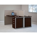 Bush Business Furniture Easy Office 60W 2 Person Str Desk Open Office w/ Two 3 Dwr Mobile Peds, Moch