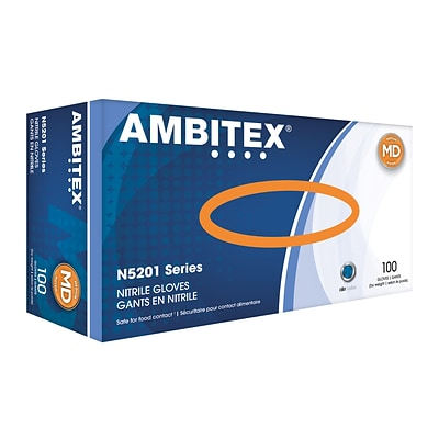 AMBITEX N5201 Series Powder Free Blue Nitrile Gloves, Medium, 100/Box (NMD5201)
