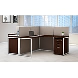 Bush Business Furniture Easy Office 60W 2Person LShaped Desk Open Office w/ Two 3 Dwr Mobile Peds, M