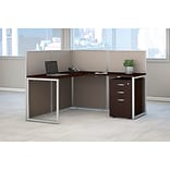 Bush Business Furniture Easy Office 60W L Shaped Desk Open Office with 3 Drawer Mobile Pedestal, Moc