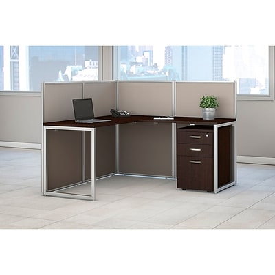 Bush Business Furniture Easy Office 60W L Shaped Desk Open Office with 3 Drawer Mobile Pedestal, Mocha Cherry (EOD360SMR-03KFA)