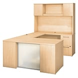 Bush Business Furniture Emerge 60W x 30D U Shaped Desk with Hutch, 2 and 3 Drawer Pedestals, Natural