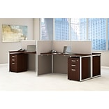 Bush Business Furniture Easy Office 60W 4 Person Straight Desk Open Office w/ 3 Dwr Mobile Peds, Moc