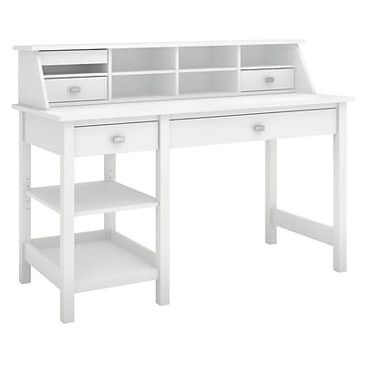 Bush Furniture Broadview Computer Desk with Open Storage and Desktop Organizer, Pure White (BD001WH)