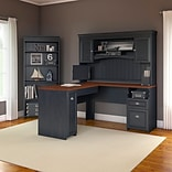 Bush Furniture Fairview L Shaped Desk with Hutch and 5 Shelf Bookcase, Antique Black (FV005AB)