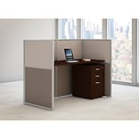 Bush Business Furniture Easy Office 60W Straight Desk Closed Office w/ 3 Dwr Mobile Ped, Mocha Cherr
