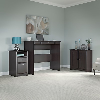 Bush Furniture Cabot Standing Desk, Storage Cabinet with Doors, and 2 Drawer Pedestal, Espresso Oak (CAB036EPO)