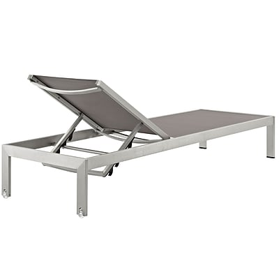Shore Outdoor Patio Aluminum Mesh Chaise in Silver Gray (889654064725)