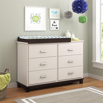 Cosco Leni 6 Drawer Dresser with Changing Table, White and Coffee House Plank (5925216COM)