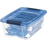 Iris Stack & Pull 12 Qt. Snap Lid Storage Boxes, Clear/Navy, 6/Carton (100306-CT)
