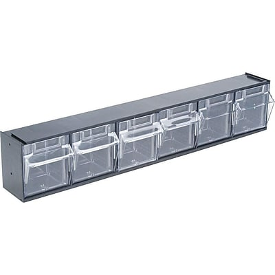 Deflect-O Tilt Bin Interlocking Compartment Storage, Black/Transparent (20604OP)