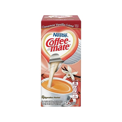 Coffee-mate Cinnamon Vanilla Creme Liquid Creamer, 0.38 Oz., 50/Box (42498)