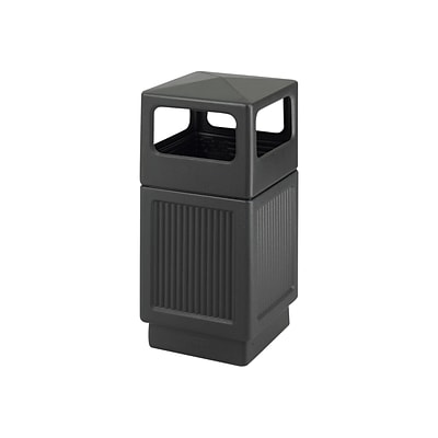 Safco Canmeleon Indoor/Outdoor Trash Cans w/Lid, Black High-Density Polyethylene/HDPE, 38 Gal. (9476BL)
