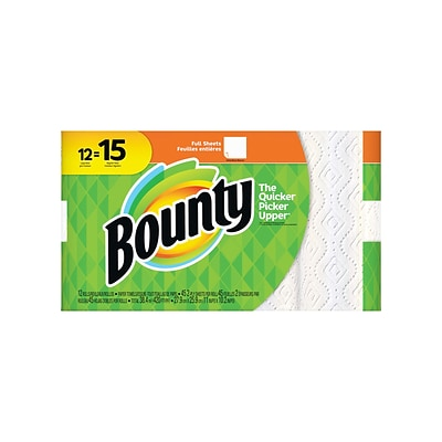 Bounty Kitchen Rolls Paper Towel, 2-Ply, 45 Sheets/Roll, 12 Rolls/Pack (74697/95032)
