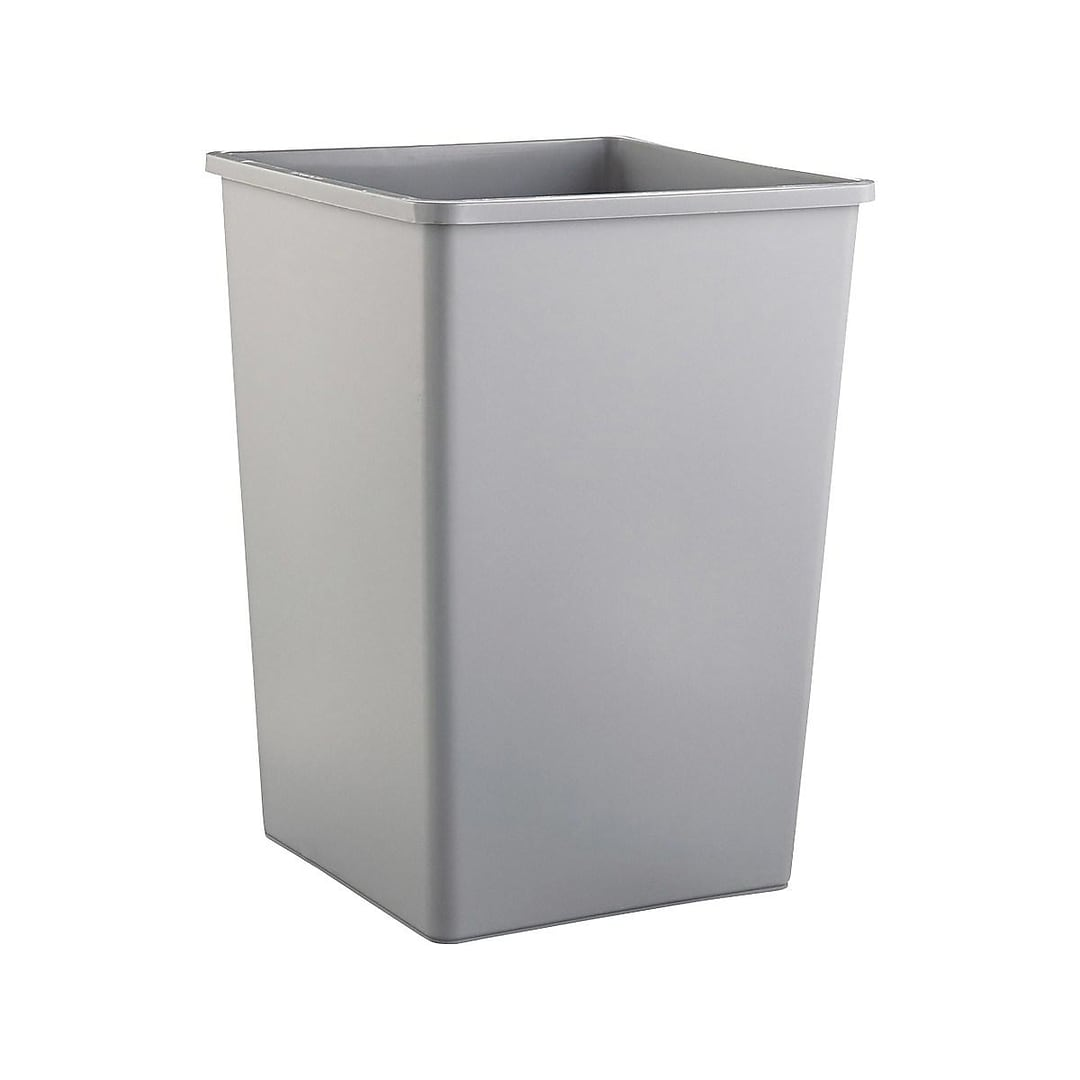Rubbermaid Untouchable Indoor/Outdoor Trash Can, Gray Resin, 35 Gal   (FG395800GRAY)