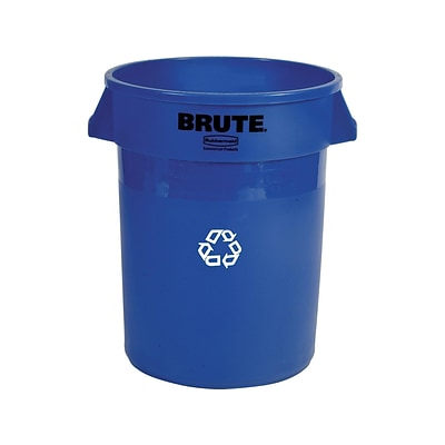 Rubbermaid Commercial Products Brute Resin Recycling Container, 32 Gal., Blue (FG263273BLUE)
