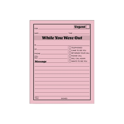 TOPS While You Were Out Message Pads, 4.25 x 5.5, Pink, 50 Sheets/Pad, 12 Pads/Pack (TOP 3002P)