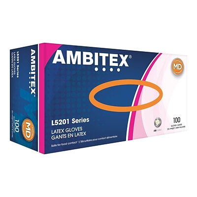 Ambitex L5201 Series Powder-Free Cream Latex Gloves, Medium, 100/Box, 10 Boxes/Carton (LMD5201)