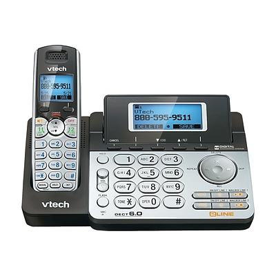VTech DS6151 2-Line Cordless Phone, Black/Silver