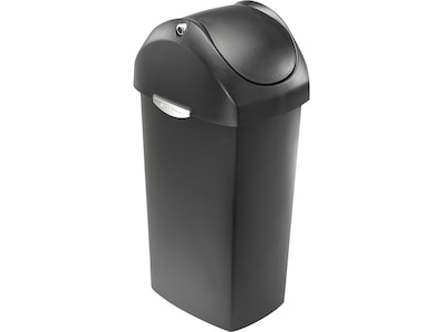 simplehuman Indoor Swing Lid Trash Can, Gray Plastic, 16 Gal. (CW1335)