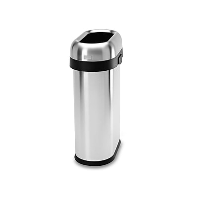 simplehuman Indoor Trash Can w/Lid, Brushed Stainless Steel, 13 Gal. (CW1467)