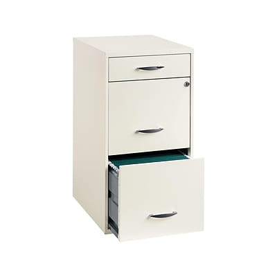 Space Solutions 3-Drawer File Cabinet with Pencil Drawer Letter-Width, Pearl White, 18 Deep (19157)