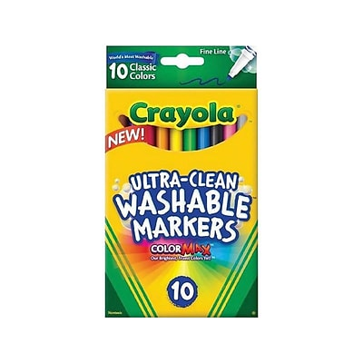 Crayola Ultra-Clean Washable Markers, Fine Line, Assorted Colors, 10/Box (58-7852)