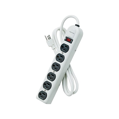 Fellowes 6-Outlet Power Strip, Platinum (99027)