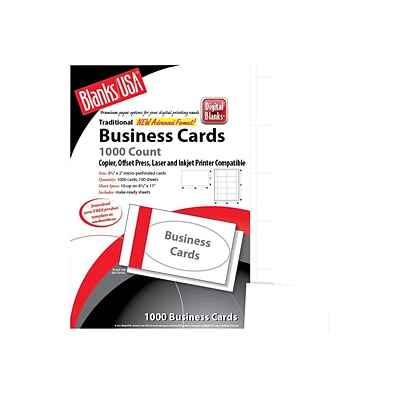 Blanks USA Business Cards, 3.5 x 2, Bristol White, 1000/Pack (BCT10B6)